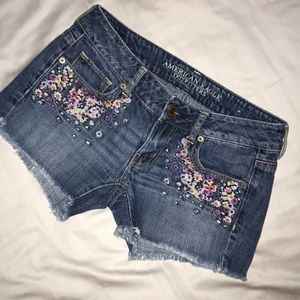AEO Embroidered Denim Shorts